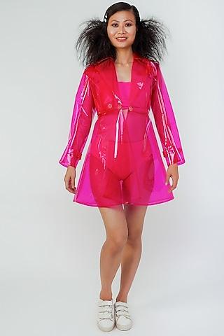 Pink Transparent Jacket by Surendri By Yogesh Chaudhary