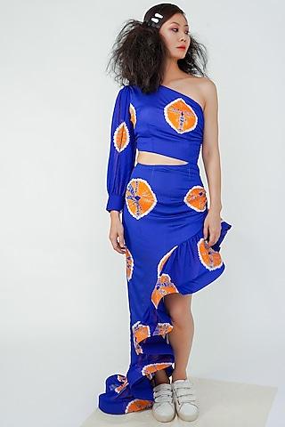 Midnight Blue Asymmetrical Frill Dress by Surendri By Yogesh Chaudhary