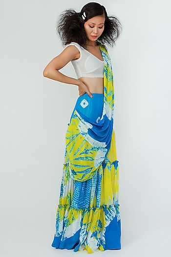 Multi Colored Pre-Stitched Lehenga Saree by Surendri By Yogesh Chaudhary