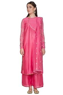 Pink Embroidered Kurta Set by Surendri by Yogesh Chaudhary