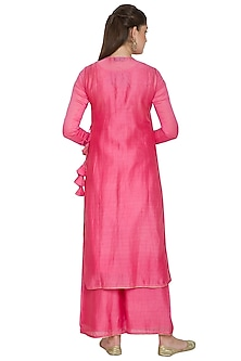 Pink Embroidered Kurta Set by Surendri by Yogesh Chaudhary