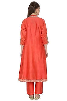 Rust Orange Embroidered Kurta Set by Surendri by Yogesh Chaudhary