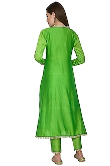 Parrot Green Embroidered Kurta Set by Surendri by Yogesh Chaudhary