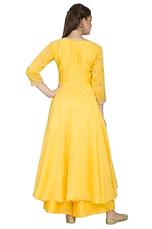 Yellow Embroidered Kurta Set by Surendri by Yogesh Chaudhary