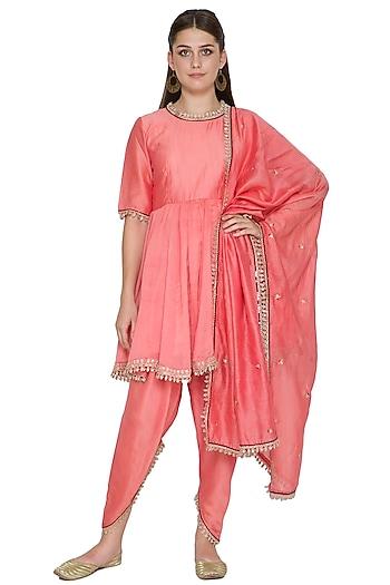 Blush Pink Embroidered Chanderi Kurta Set by Surendri by Yogesh Chaudhary
