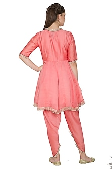 Blush Pink Embroidered Chanderi Kurta Set by Surendri by Yogesh Chaudhary