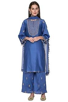 Ink Blue Embroidered Chanderi Kurta Set by Surendri by Yogesh Chaudhary