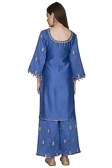 Ink Blue Embroidered Chanderi Kurta Set by Surendri by Yogesh Chaudhary