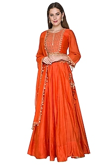 Rust Orange Embroidered Lehenga Set by Surendri by Yogesh Chaudhary