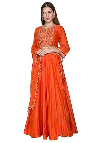 Rust Orange Embroidered Lehenga Set by Surendri by Yogesh Chaudhary