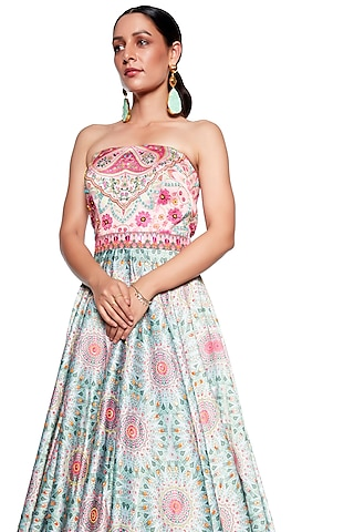 Pink & Green Embroidered Gown by SIDDHARTHA BANSAL