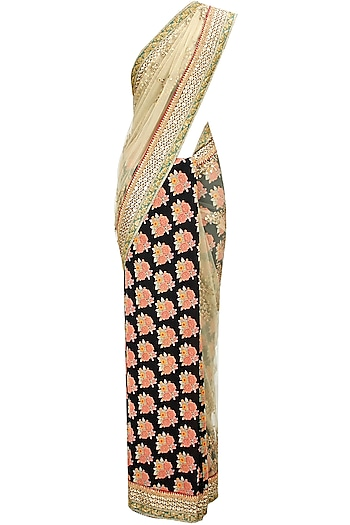 Floral printed and embroidered tulle sari with gulmarg flowers blouse by Sabyasachi