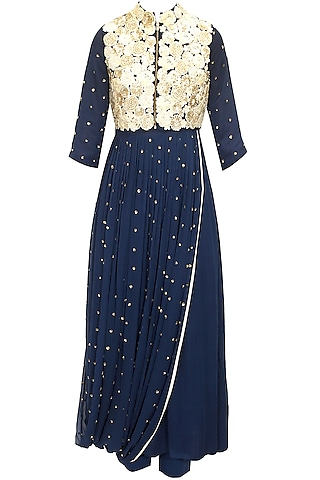 Midnight blue floral embroidered drape kurta set by Saumya & Bhavini Modi