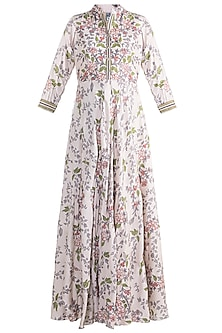 Ivory Embroidered Printed Gown by Soup by Sougat Paul