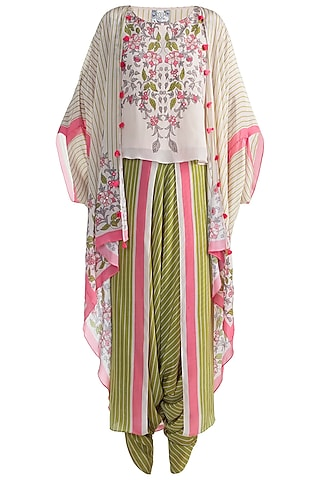 Ivory Top With Jacket & Dhoti Pants by Soup by Sougat Paul