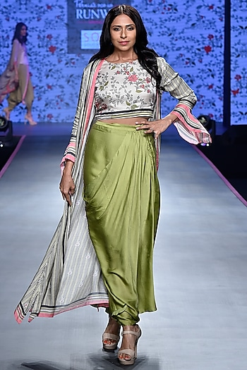 Olive Green & Ivory Top With Dhoti Skirt & Jacket by Soup by Sougat Paul