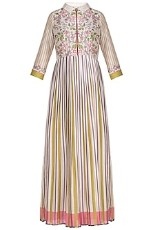 Ivory Embroidered Printed Midi Dress by Soup by Sougat Paul