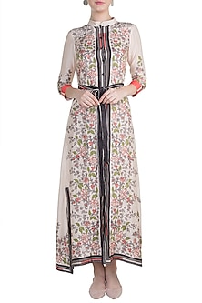 Ivory Embroidered Printed Jacket Dress by Soup by Sougat Paul