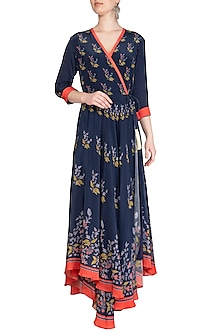 Indigo Blue Printed Embroidered Wrap Dress by Soup by Sougat Paul