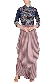 Indigo Blue Printed Jumpsuit With Embroidered Jacket by Soup by Sougat Paul