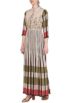 Off White Embroidered Printed Maxi Dress by Soup by Sougat Paul