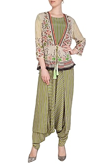 Off White Embroidered Printed Jumpsuit With Peplum Jacket by Soup by Sougat Paul