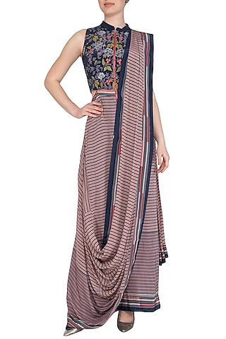 Indigo Blue Embroidered Printed Saree Gown by Soup by Sougat Paul