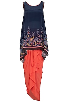 Indigo Blue Embroidered Printed Top With Draped Skirt by Soup by Sougat Paul