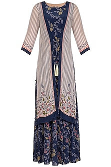Indigo Blue Embroidered Printed Maxi Dress With Off White Jacket by Soup by Sougat Paul