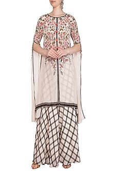 Off White Printed Tunic With Flared Pants by Soup by Sougat Paul