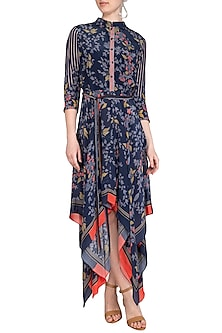 Indigo Blue Embroidered Printed High Neckline Dress by Soup by Sougat Paul