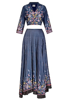Indigo Blue Embroidered Printed Lehenga Skirt With Cropped Blouse by Soup by Sougat Paul