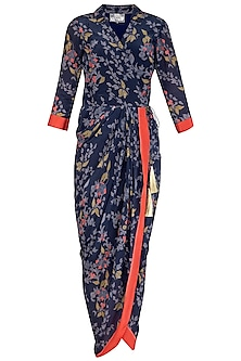 Indigo Blue Embroidered Printed Wrap Saree Gown by Soup by Sougat Paul
