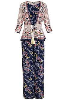 Indigo Blue Embroidered Printed Jumpsuit With Peplum Jacket by Soup by Sougat Paul