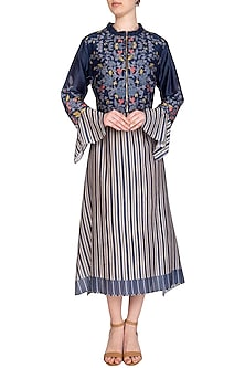 Indigo Blue Embroidered Printed Jacket With Midi Dress by Soup by Sougat Paul
