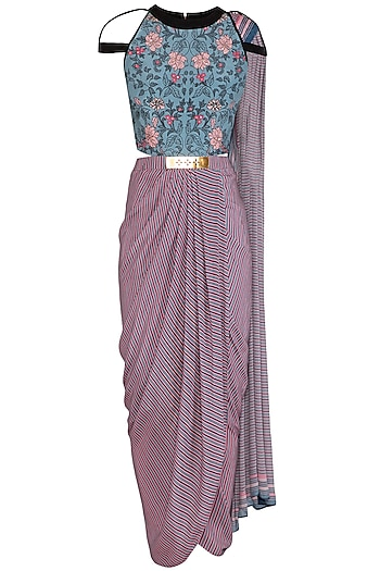 Powder Blue Embroidered Printed Saree Gown by Soup by Sougat Paul