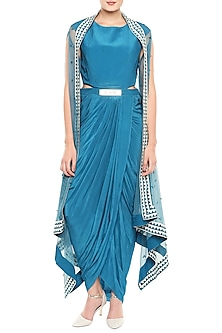 Blue Draped Dress With Belt & Hand Embroidered Cape Jacket by Soup by Sougat Paul