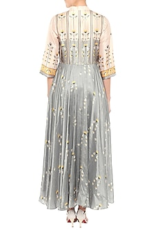 Grey & Beige Printed Chinese Collared Dress by Soup by Sougat Paul