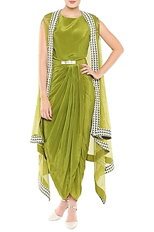 Olive Green Dress With Belt & Hand Embroidered Cape Jacket by Soup by Sougat Paul-POPULAR PRODUCTS AT STORE