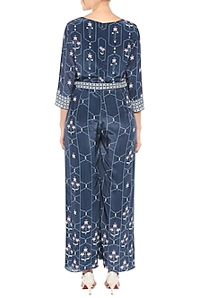 Navy Blue Printed Jumpsuit With Tie-Up Belt by Soup by Sougat Paul