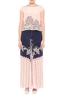 Baby Pink & Blue Printed Top With Palazzo Pants by Soup by Sougat Paul