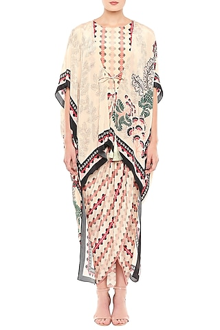 Baby Pink & Peach Printed Draped Dress With Asymmetrical Jacket by Soup by Sougat Paul