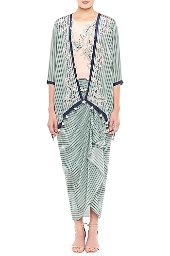 Baby Pink & Blue Printed Crop Top With Draped Skirt & Jacket by Soup by Sougat Paul