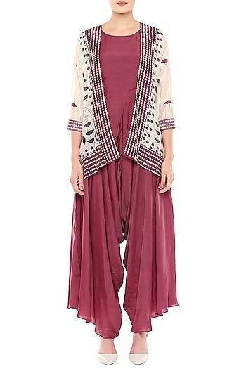Off White & Maroon Printed Jumpsuit With Jacket by Soup by Sougat Paul