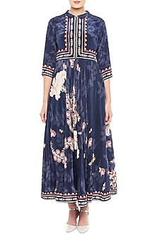 Navy Blue Printed Maxi Dress by Soup by Sougat Paul