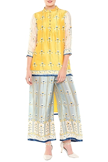 Multi Colored Asymmetrical Top With Palazzo Pants by Soup by Sougat Paul