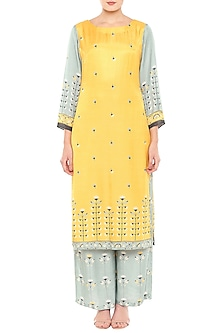 Yellow & Blue Printed Kurta With Palazzo Pants by Soup by Sougat Paul