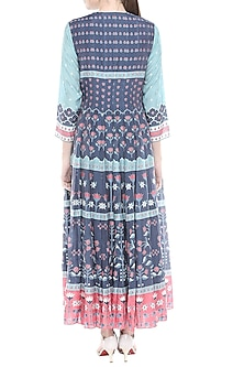 Blue & Pink Printed Maxi Dress by Soup by Sougat Paul