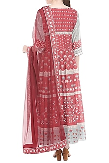 Blue & Red Printed Anarkali With Dupatta by Soup by Sougat Paul
