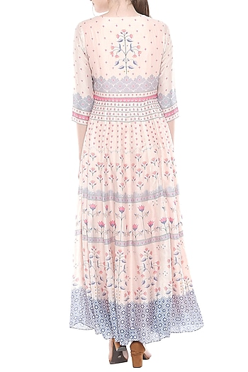Baby Pink Printed Maxi Dress by Soup by Sougat Paul